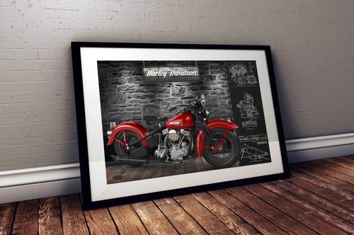 1947 Harley Davidson Panhead - Schematics on