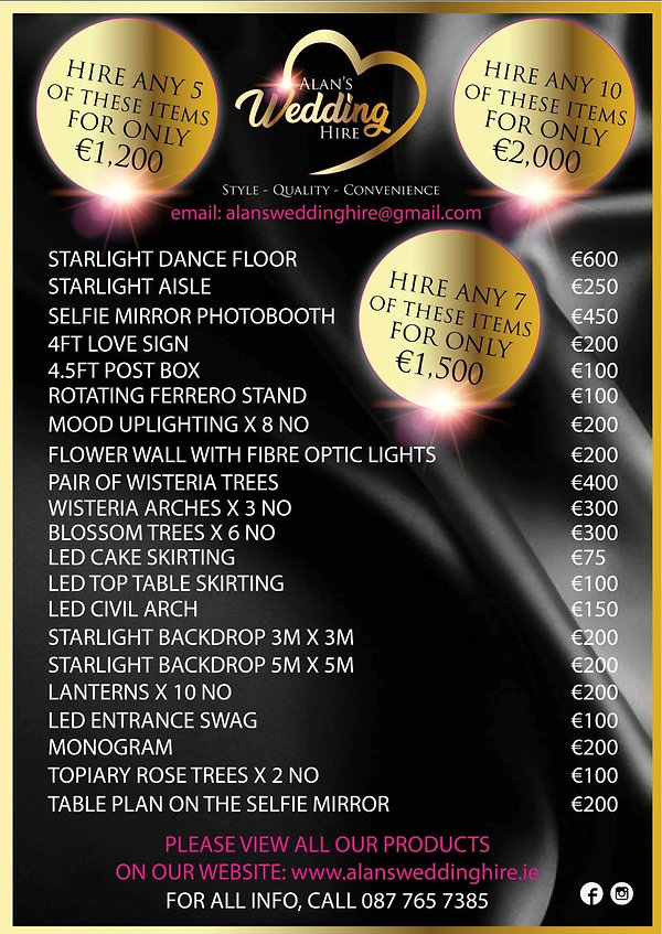 This image shows our pricelist and also our package deals pricing.