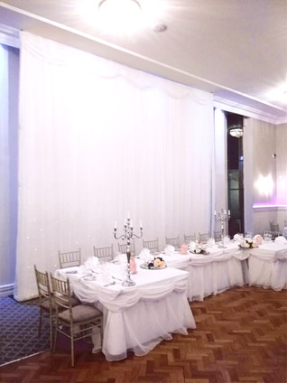 Top Table LED Skirting and 5m x 5m Starlight Backdrop