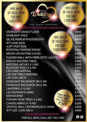 Pricelist and package deals.