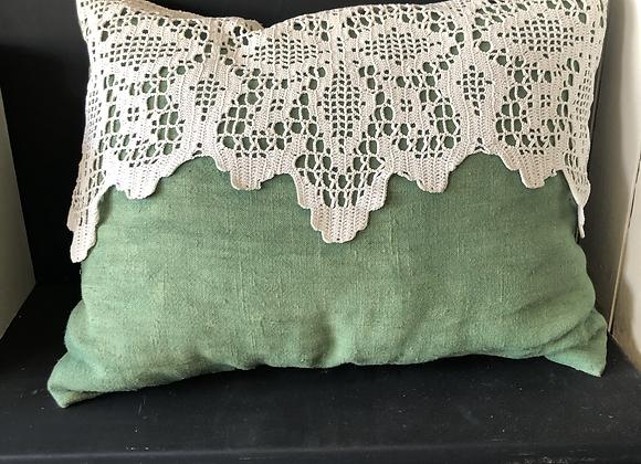 Grünes Leinen Kissen