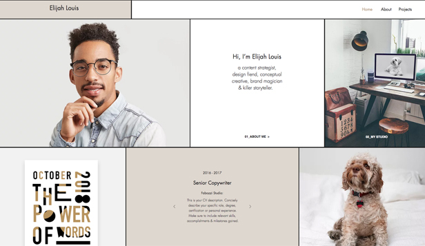 Kunst website templates – Storyteller cv