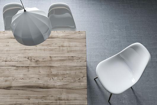 Vista superior de la mesa y silla