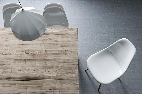 Vue de dessus de table et chaises