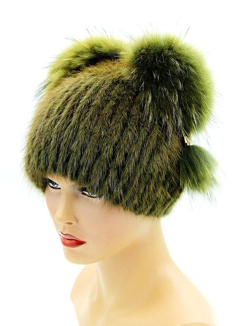 шапка вязаная из меха