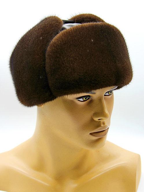 меховая шапка ушанка из норки и кожи молодежка коричневая