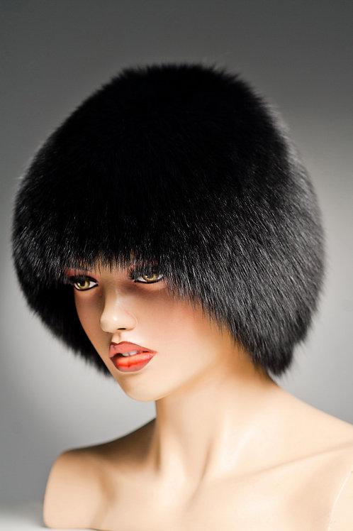 Женская меховая песцовая шапка Сноп (Стриха) на вязаной основе, черная.