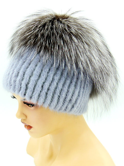 вязаные норковые шапки купить