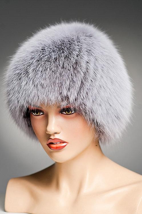 Зимняя меховая песцовая шапка  Сноп (Стриха) на вязаной основе, мелированная.