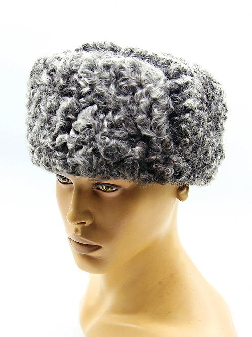 Мужская шапка из каракуля классическая ушанка меховая комбинированная с замшей