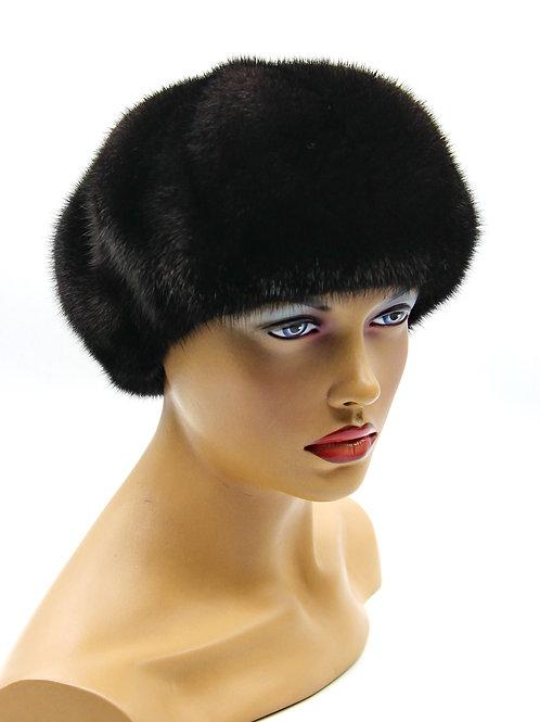 женский берет норковый черный