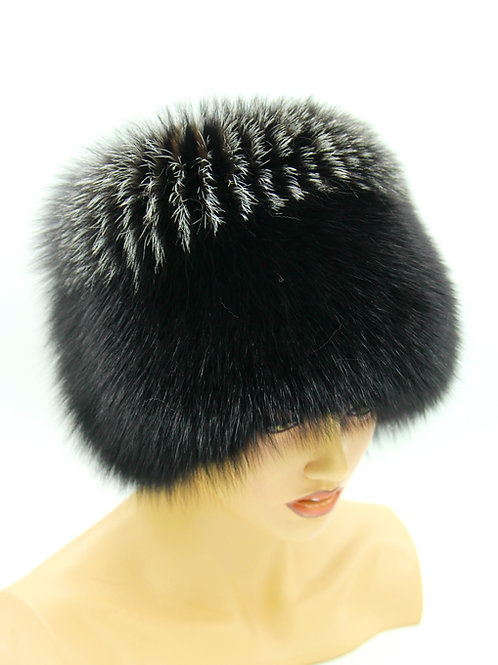 Меховая шапка из песца Кубанка Барбара на вязаной основе черная