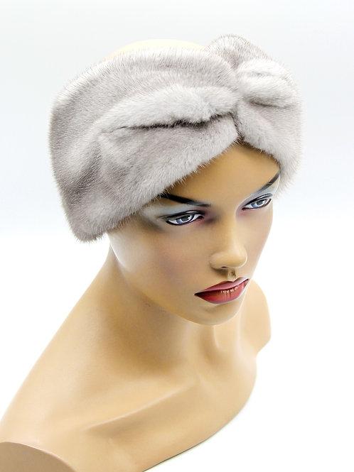 Женская меховая повязка Тюрбан на голову норковая сапфир