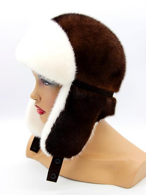 женская ушанка шапка норковая