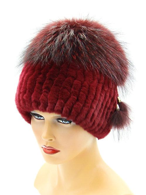 шапка на вязаной основе и нашитого меха