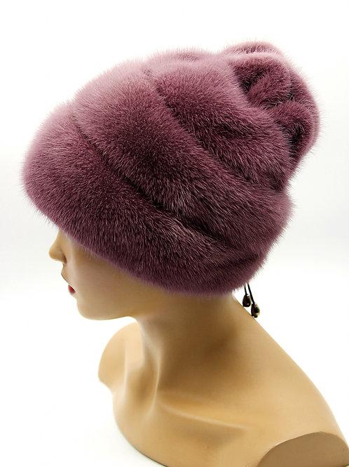 """Женская меховая норковая шапка """"Роза"""" (фиолетовая)."""
