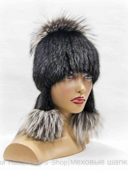 Меховая женская шапка из ондатры и чернобурки с ушками и бубоном.