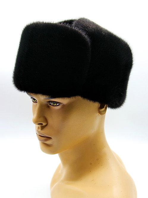 норковая шапка классическая ушанка из меха и замши комбинированная