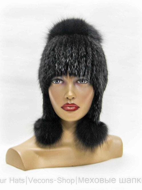 Меховая женская шапка из ондатры и песца с ушками и бубоном.