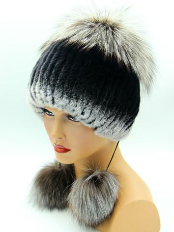 Купить меховую шапку на вязаной основе