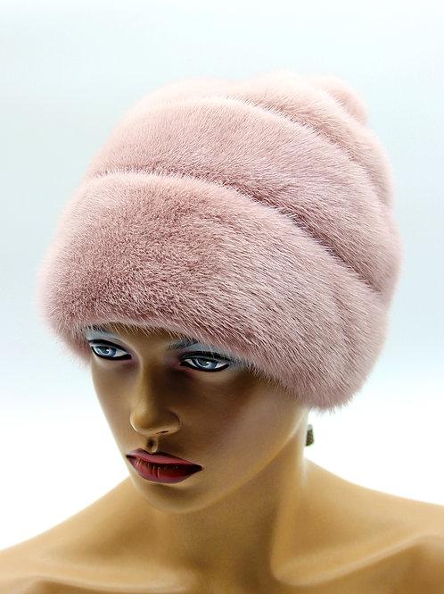 Женская норковая шапка меховая Роза бледно розовая