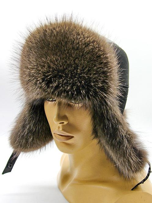 меховая зимняя мужская шапка ушанка из енота