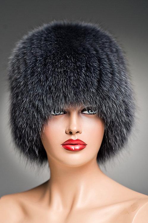 Женская шапка из песца Кубанка (Барбара) на вязаной основе, графитовая.