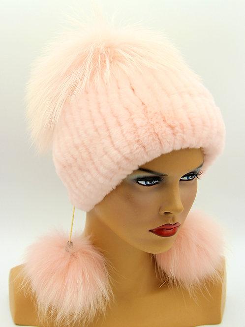 меховая женская шапка зимняя на вязаной основе из чернобурки и rex rabbit