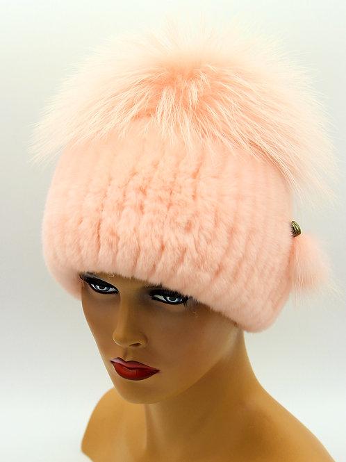 меховая женская шапка на вязаной основе из чернобурки и rex rabbit