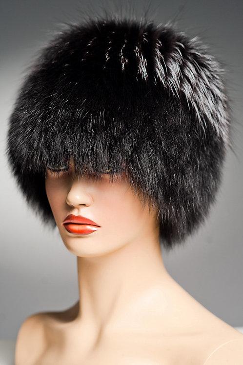 Меховая шапка из песца Кубанка (Барбара) на вязаной основе, черная.