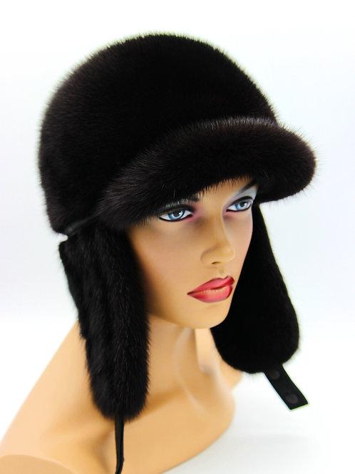 меховая черная шапка ушанка
