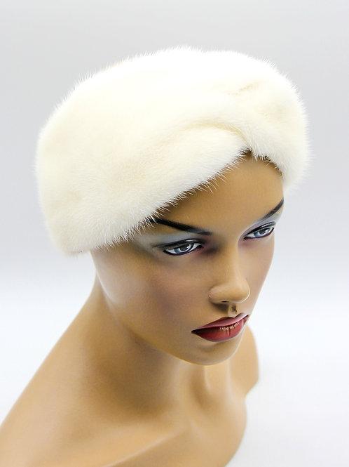 Женская меховая повязка Тюрбан на голову норковая белая