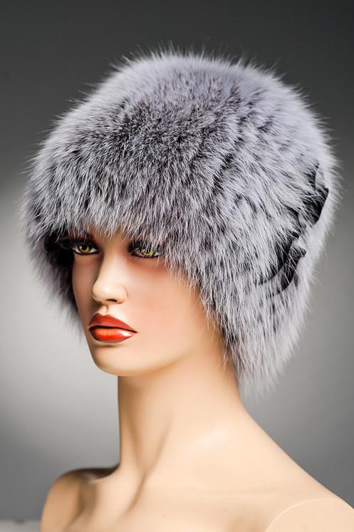 женская меховая шапка из песца кубанка барбара на вязаной основе