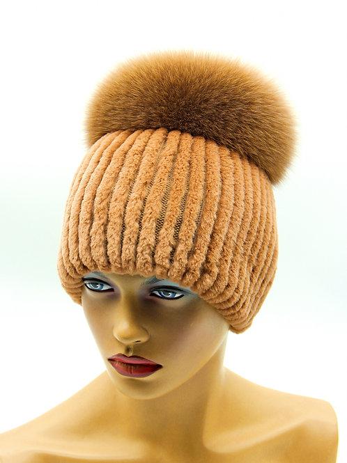шапка женская из комбинированного меха на вязаной основе
