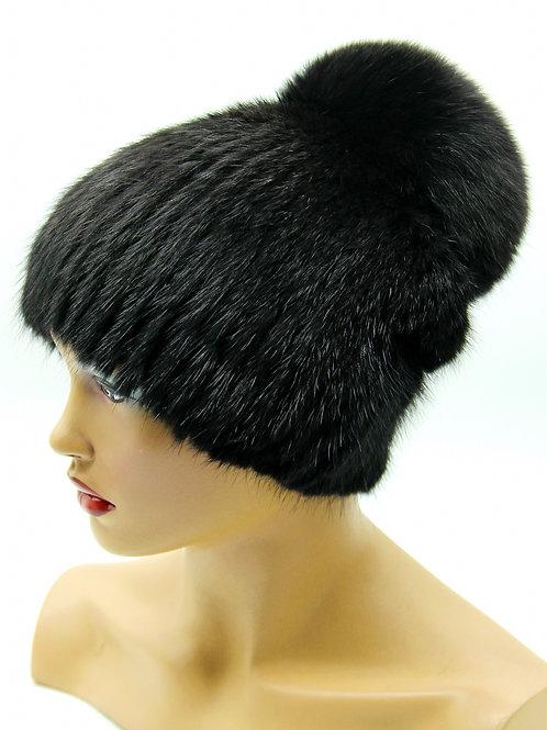 шапка с натуральным бубоном