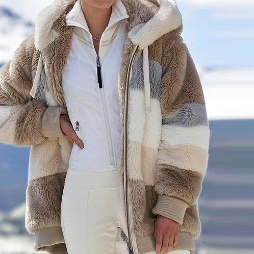 Jacket  Warm Plush Patchwork Zipper Pocket Hooded Jacket Long Plus Size