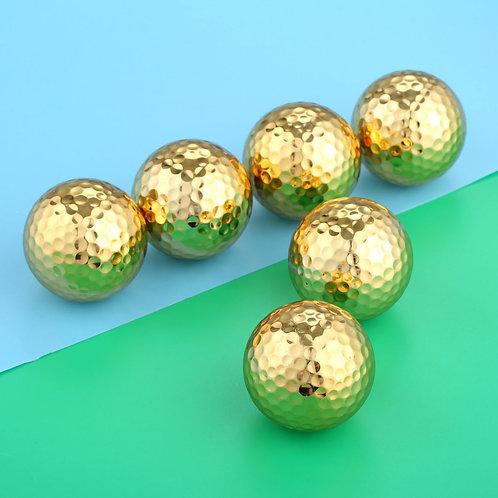 6 Pcs/Lot Two Layer Gold Color  Golf Balls Practice Balls  Diameter 42.67mm