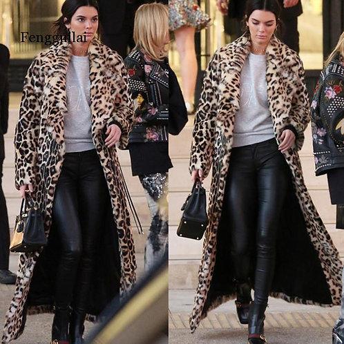Leopard Fur Coat Autumn Winter Thick Warm Rabbit Plush Hooded Long Faux Fur