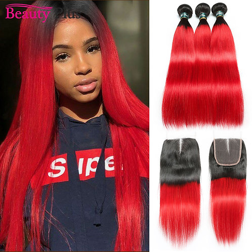 Red Hair Bundles With Closure 28Inch Long Straight Beauty Plus Hair Weaves