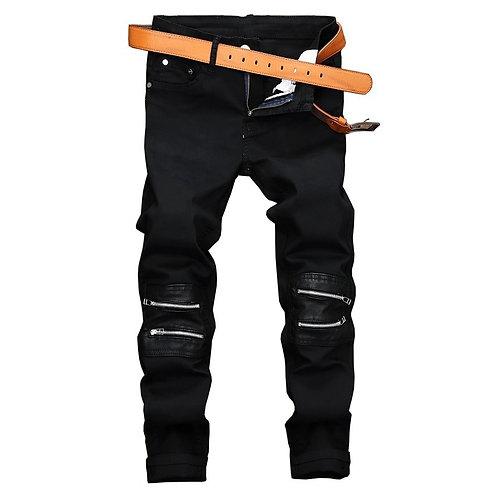 Gersri Black Zipper Patchwork Straight men's jeans