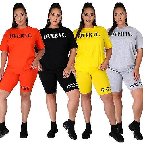 Plus Size Women Clothing Plain Two Piece Short Set Plus Size  Casual Sportswear