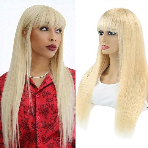 Blonde Silk  Human Hair wig, Bangs Brazilian Full Fringe  Made With Bang Remy