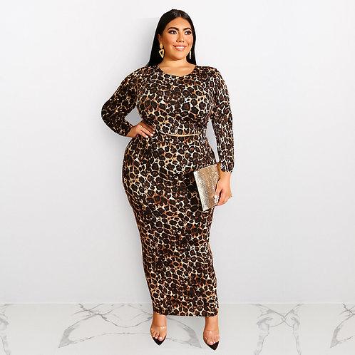Plus Size Women'S Leopard Print Long Sleeve Fashion Plus Size Two Piece Suit Set