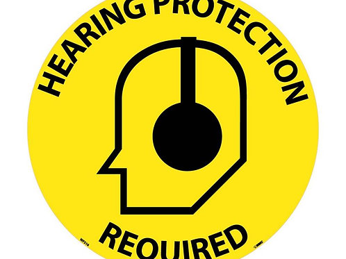 "Walk on Floor Signs: Hearing Protection Required  17"" x 17"""