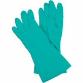 Flocked-Lined Green Nitrile Gloves