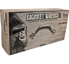 Monkey Wrench™5558PF Black Textured 8 Mil Nitrile Gloves | Wholesale Safety Labels