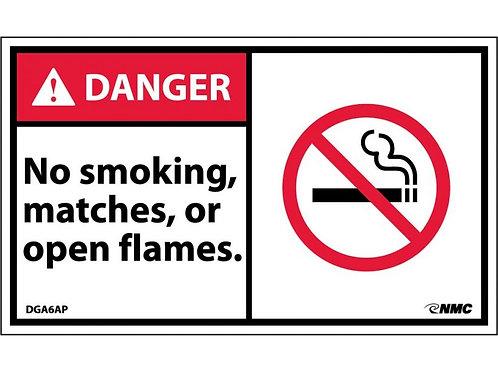 Hazard Danger Label No Smoking, Matches or Open Flames