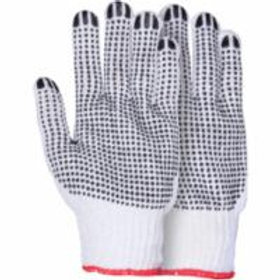 Knit Gloves - Natural Poly/Cotton Dotted Gloves