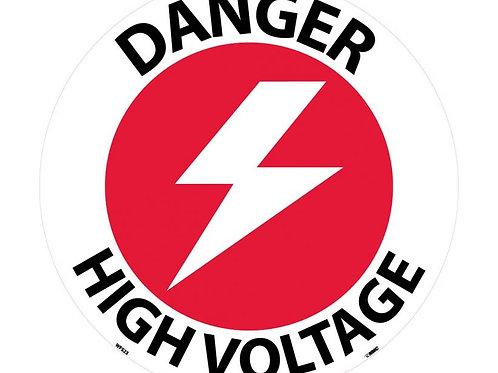 "Walk on Floor Signs: Danger High Voltage  17"" x 17"""