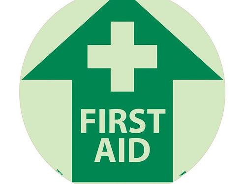 "Walk on Floor Signs First Aid 17"" x 17"" Glow"